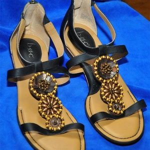 boc Born Concept Black Beaded Sandals sz 7